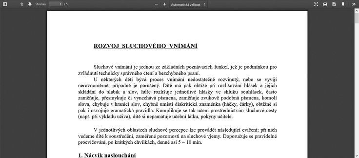Co a jak trénovat u dítěte v oblasti sluchového vnímání. Informace PPP České Budějovice.