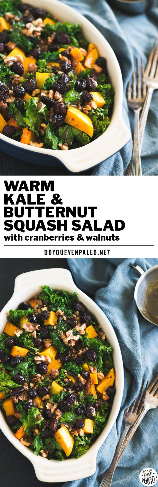 This simple warm kale & butternut squash salad will not disappoint! Packed with fall flavors, it makes a nourishing and colorful side dish. | DoYouEvenPaleo.net #paleo #glutenfree #salad #kale