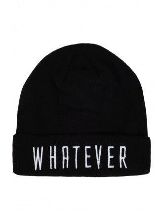 Black Slogan Beanie Hat