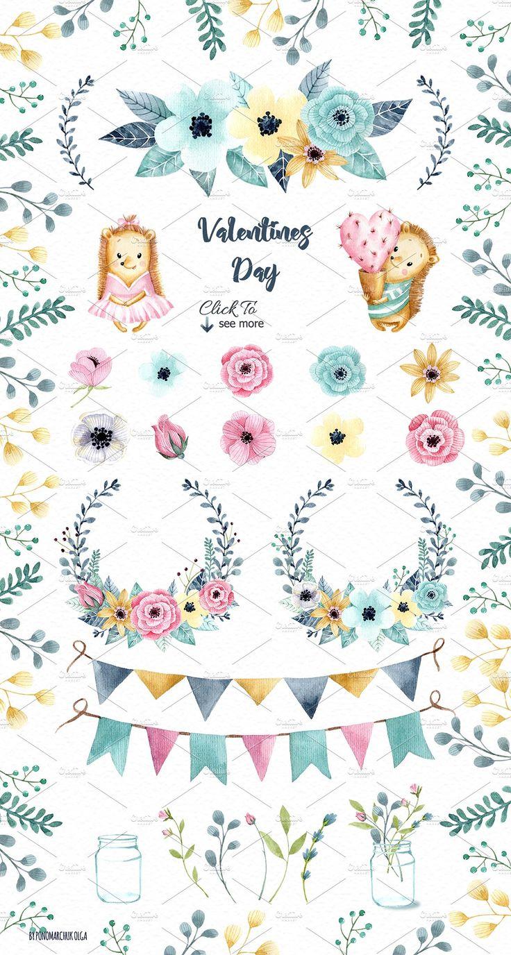 Valentine's Day Bundle 70 elements by Ponomarchuk Art on @creativemarket