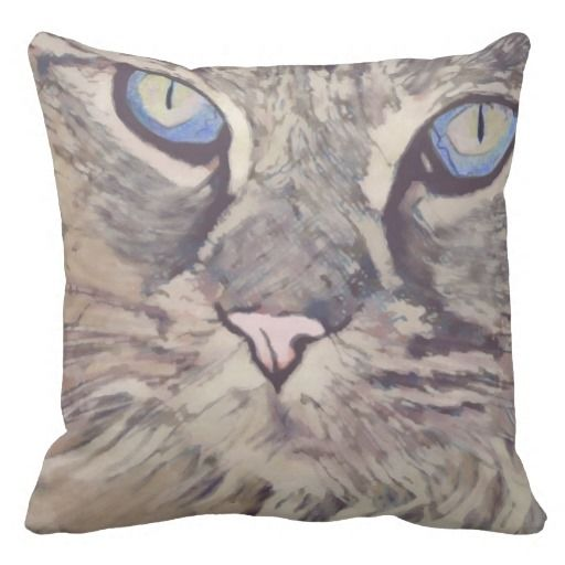 Blue Eyed Cat Throw Pillow