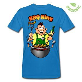 BBQ King op een organisch T-Shirt #Spreadshirt #Cardvibes #Tekenaartje #Barbecue #Grill #Organic