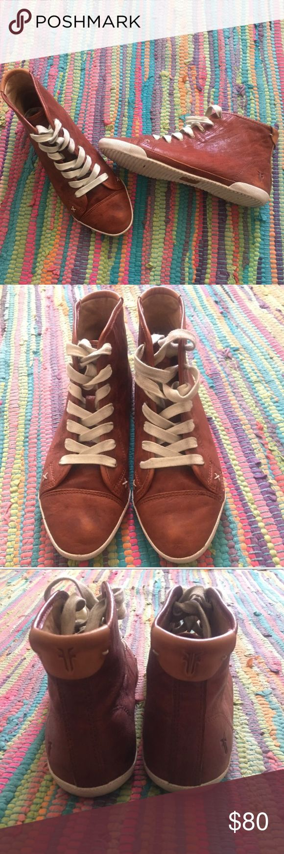 Frye high tops Frye high top sneakers. Bought from another posher but they don't fit! Don't think she ever wore them.. Genuine leather and very cute. Ships same day! Frye Shoes Sneakers