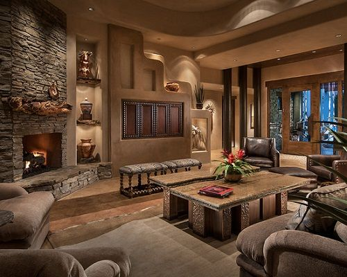 Contemporary southwest living room interior design home - Home decorating ideas living room walls ...