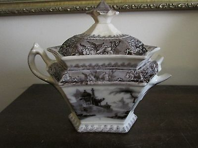 Antique J. Clementson Corea Ironstone Flow Mulberry Black Sugar Bowl As Is