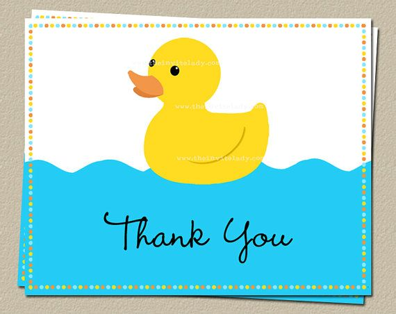 Rubber Duck Baby Shower Birthday Thank You Cards Yellow