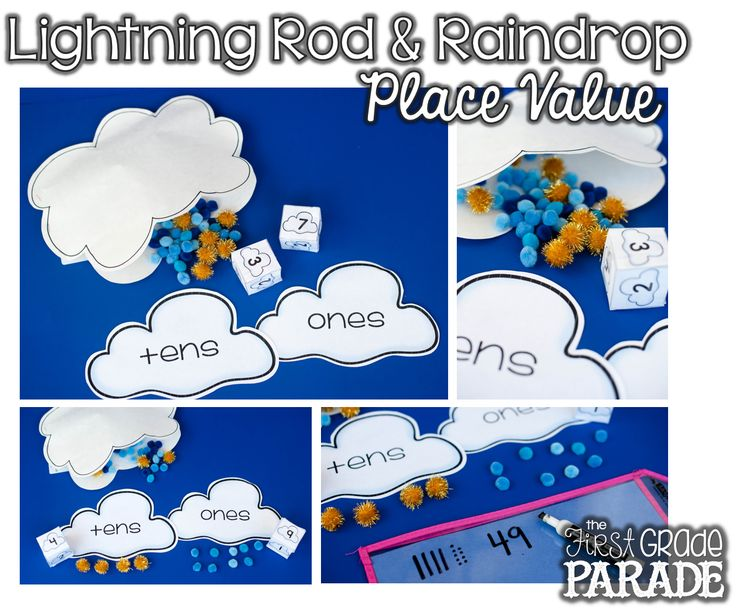 Place value math games with 'lighting rods' and 'raindrops'