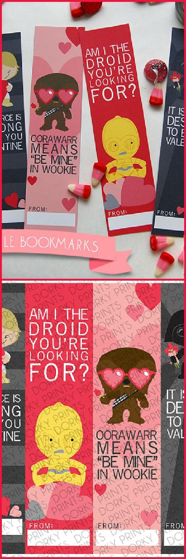 Valentine Printable PDF - Printable Party Supplies - Valentines Printable Bookmarks - Star Heroes #ad