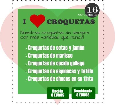 noches de los viernes en La Pizarra del Silbario: I LOVE CROQUETAS