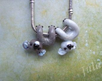 Cat Cat charm Pandora bead European bead Lampwork bead