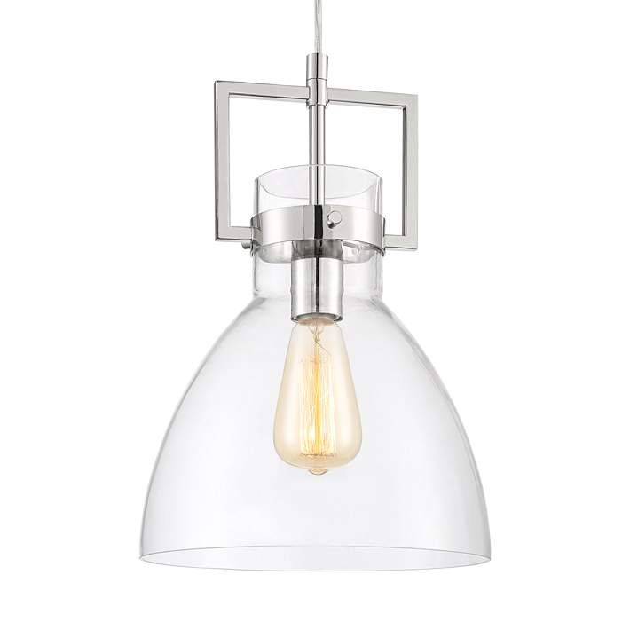 Olney 10 Wide Polished Nickel And Glass Mini Pendant Light
