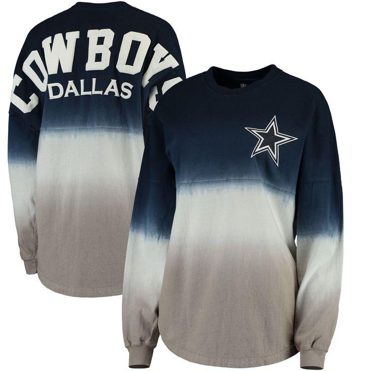 NFL Pro Line by Fanatics Branded Dallas Cowboys Women's Navy/Silver Spirit Jersey Long Sleeve T-Shirt https://www.fanprint.com/stores/american-dad?ref=5750