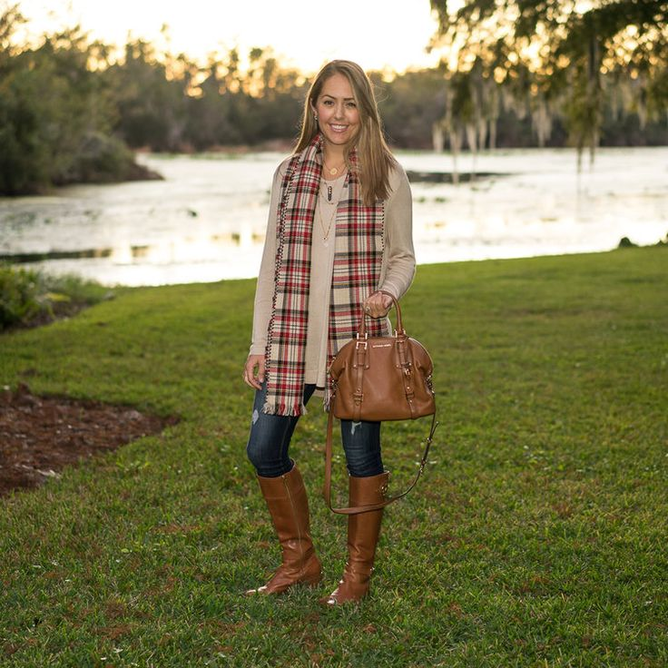 Plaid scarf and riding boots