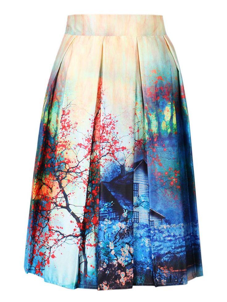Charm Lady Casual Multi Scene Print High Waist Pleated Skater Midi Skirt High Waist Painting Skater Skirt free shipping