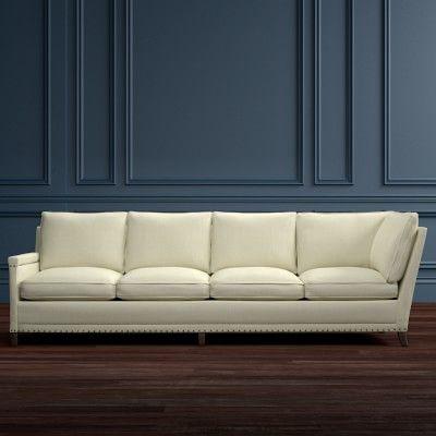 Addison Four Cushion Corner Sofa with Down Blend, Left, Belgian Linen Basketweave, Solid, Natural
