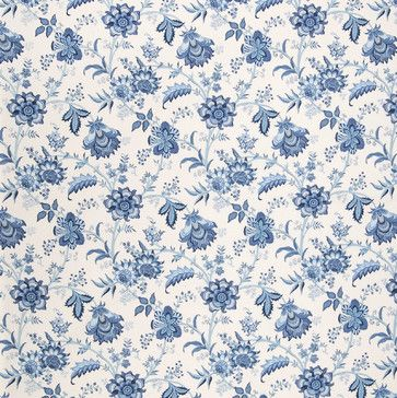Home Decor Fabric GH Rainwater Blues Decorator Fabrics #Rainwater_Blues  #Blue #Ikat #Floral_Fabric