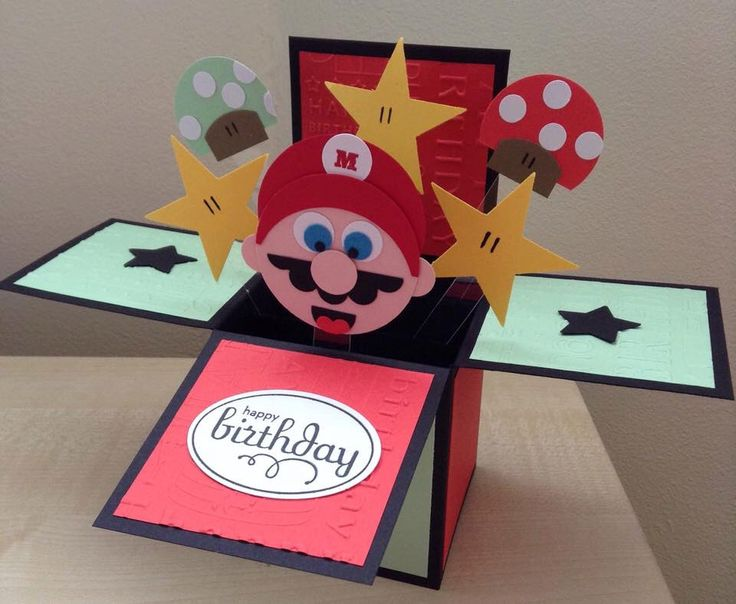 Handmade Card in a box, unique super mario theme birthday