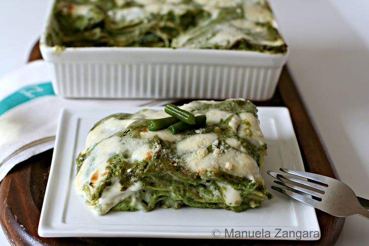 Pesto Lasagne - Vegetarian version of a traditional Italian dish made with pesto, potatoes and green beans