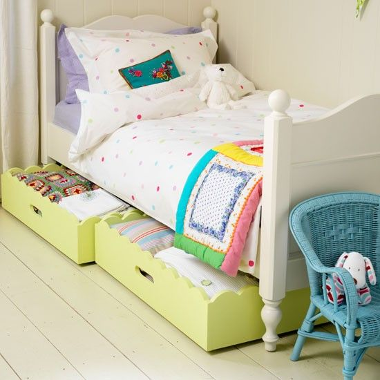 Nice bedroom for a little girl - like the underbed boxes - House to Home