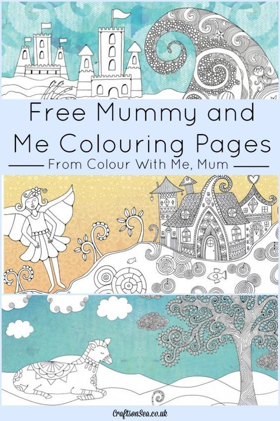 Three fantastic mummy and me colouring pages ready for you to download - sea, horse and fairy colouring pages for adults and kids.