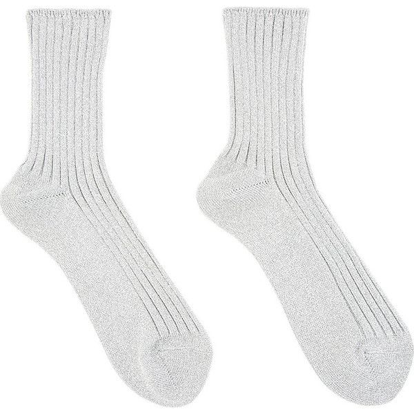 Comme Des Garons Silver Lam Short Socks (840 RUB) ❤ liked on Polyvore featuring intimates, hosiery, socks, tennis socks, comme des garçons, comme des garcons socks, ankle socks and silver socks