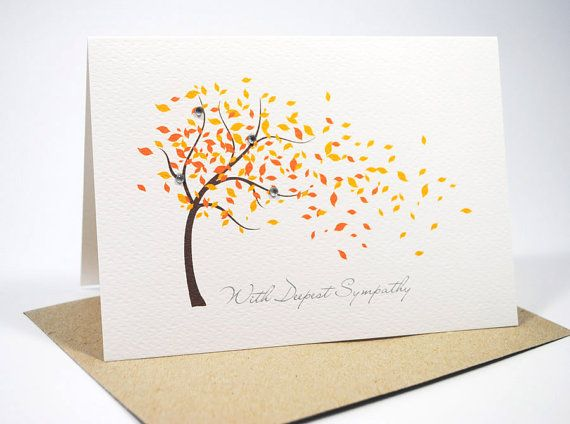 This is a simple but beautiful handmade Sympathy Card - With Deepest Sympathy / Condolence Card - Orange Fall Autumn Tree. Reference: WDS008
