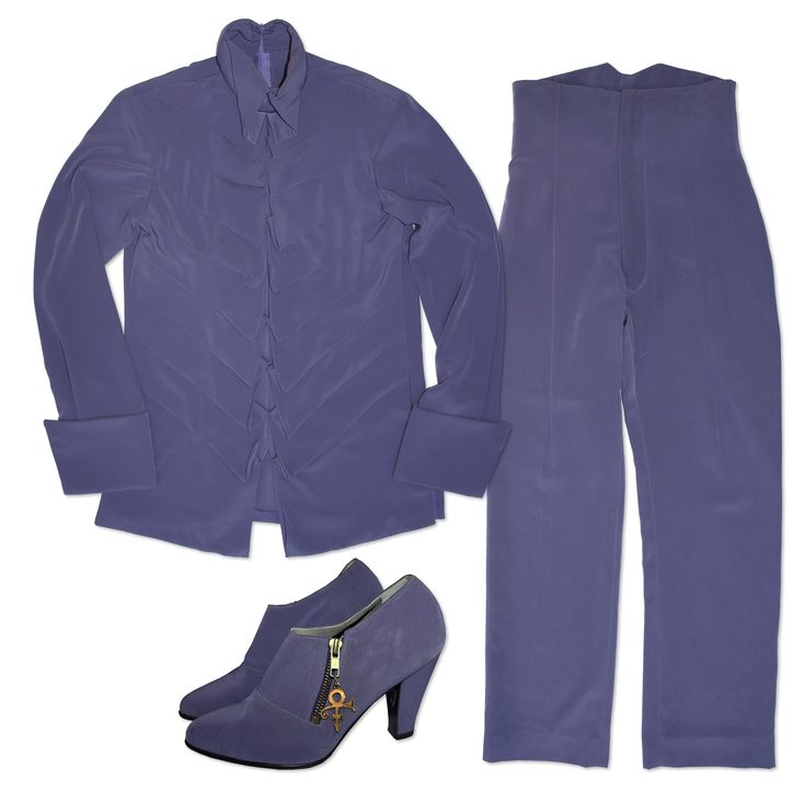 Stage ensemble worn by Prince. Costume in beautiful lilac purple fabric comprises a blouse, pants
