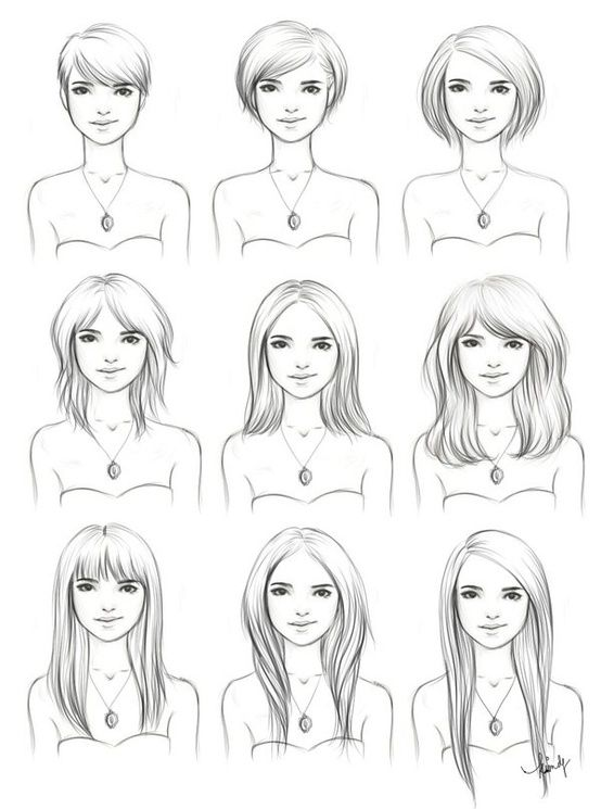 Hairstyles drawing | Interesting to see how to manage a short haircut as it grows out!