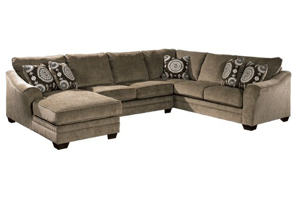 """The """"Cosmo-Marble"""" sectional upholstery collection takes stylish contemporary design to a whole new level with the artistically shaped arms beautifully adorned with welting details and a warm earth-toned upholstery fabric surrounding the supportive comfortable cushioning."""