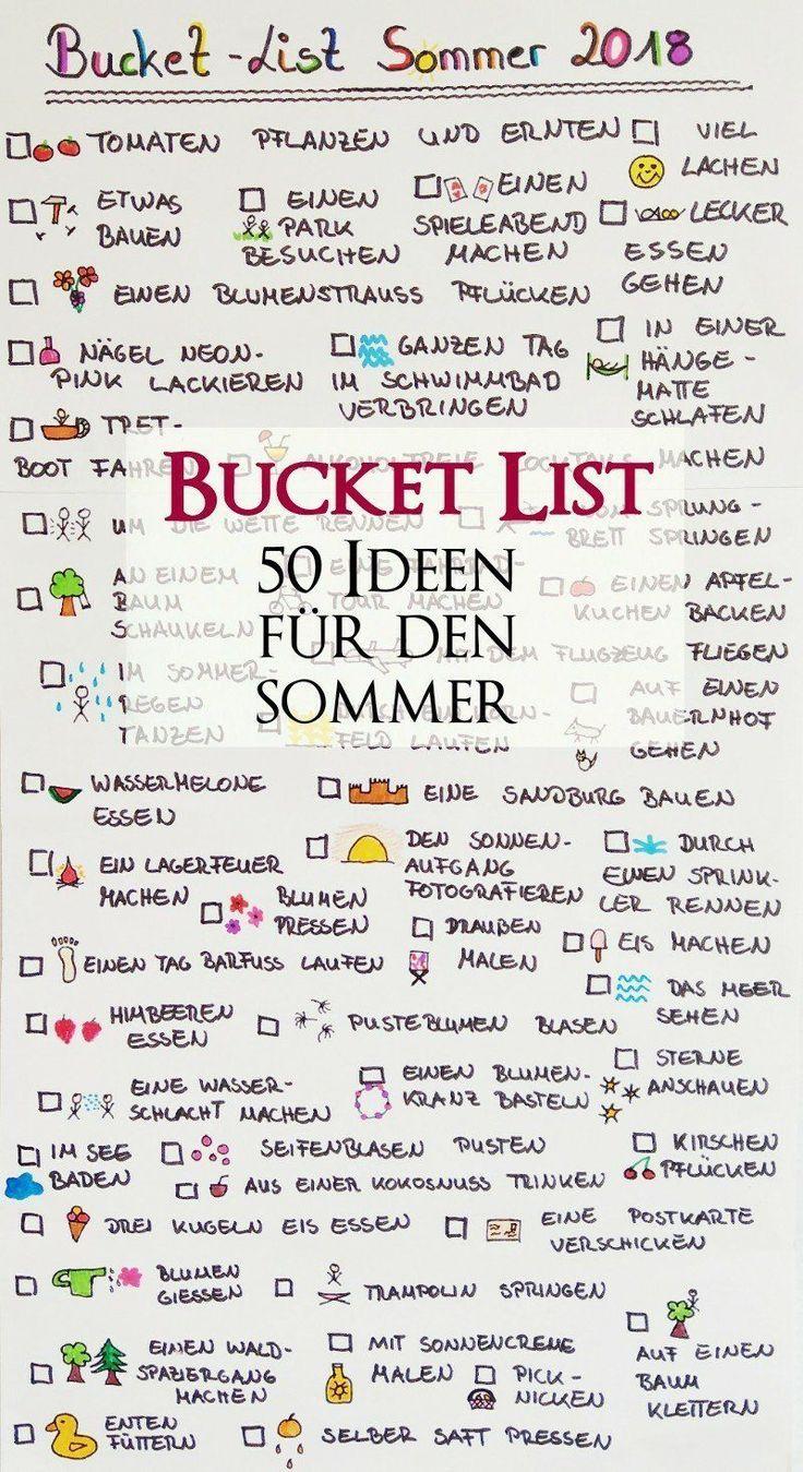 Bucket List für den Sommer – 50 Dinge, die wir diesen Sommer tun wollen Hier zeige ich Ihnen unsere Bucket List für den Sommer. 50 Ideen von