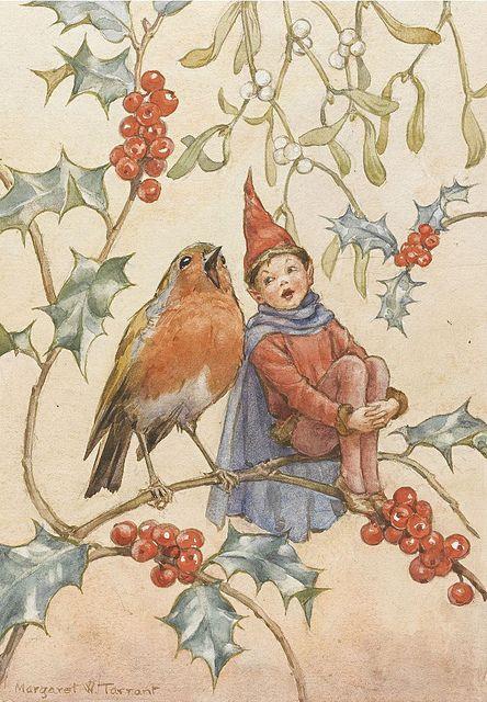 Margaret W. Tarrant - A Holly fairy and friend?