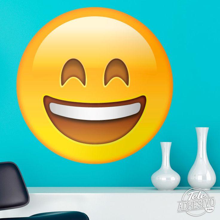 Vinilos Decorativos: Cara sonriente con boca y ojos abiertos #vinilo #emoji #emoticono #decoracion #pared #caras #TeleAdhesivo