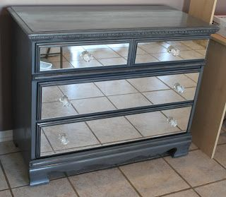 """""""Blawnde's Blawg: Mirrored Dresser""""--great tutorial!  easy-to-follow with pics and tips.  This is definitely much more approachable than I'd have thought (fyi: the mirror cuts were done affordably by professionals)"""