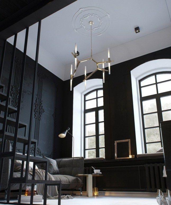 Высокие потолки позволяют использовать объемные люстры. .