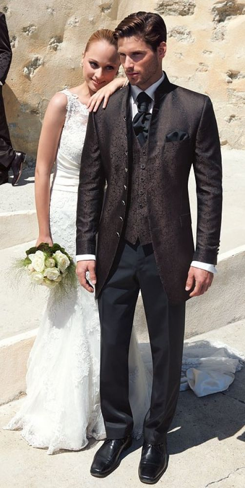 Hochzeitsanzug Wilvorst, braun in Floral Jaquard, Slimline