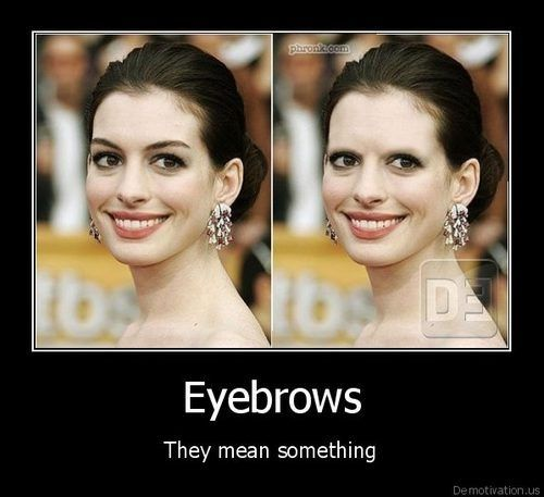what a difference some upper eye hair makes  LOLLaugh, Beautiful, Random, Funny Stuff, Humor, Things, Eyebrows Matter, Giggles, Anne Hathaway