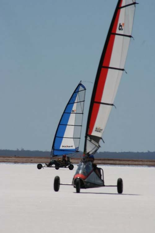A saltlake on the West Australian goldfields is one of the biggest playgrounds on earth for those who land-sail.