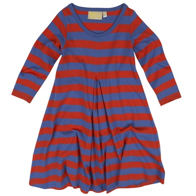 Red A Line Stripe Long Sleeved Dress