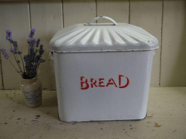 Vintage Enamel Bread Bin - Art Deco - English Enamel Bread Box - Bread Box - Red and White Bread Box - Rustic Bread box by VintiqueTree on Etsy