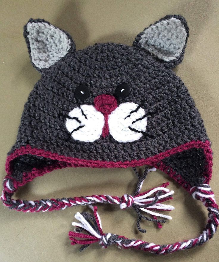 Crochet Kitty Cat Hat Pattern : 1000+ ideas about Crochet Cat Hats on Pinterest Crochet ...