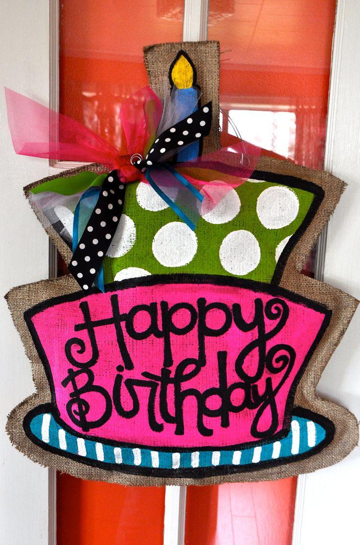 Birthday Burlap Door Hanger & 187 best Burlap Door Hanger images on Pinterest | Burlap door ... pezcame.com