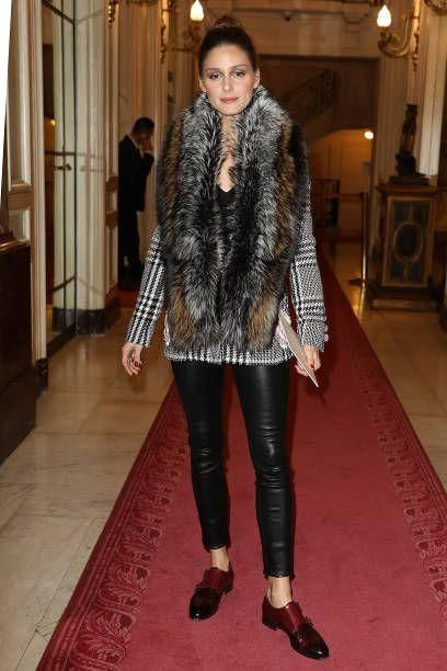 Olivia Palermo wearing Cara Mila Duchess Fox Stole, Santoni Double-Buckle Leather Loafers and J Brand L8007 Edita Leather Leggings