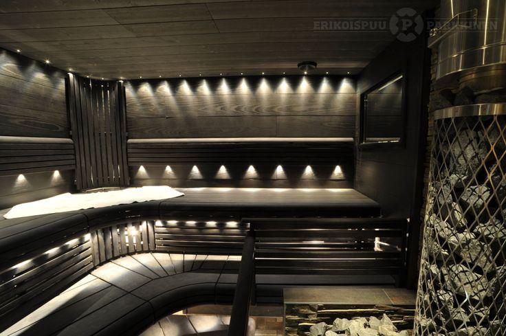 Tummia pintoja ja sopivasti valoa #sauna #lauteet #erikoispuuparkkinen #saunabenches