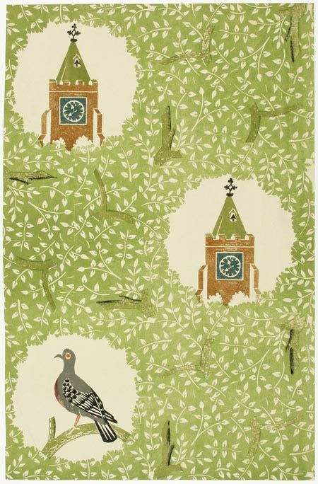 Edward Bawden, relief printed wallpaper