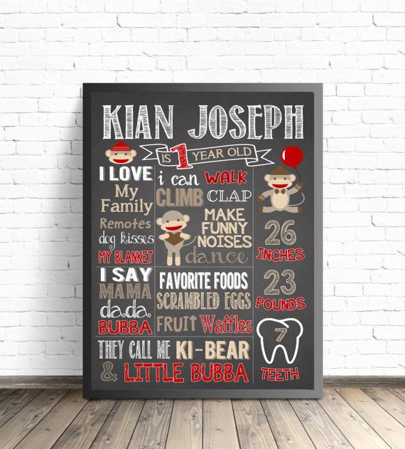 Hey, I found this really awesome Etsy listing at https://www.etsy.com/listing/256233167/sock-monkey-first-birthday-chalkboard