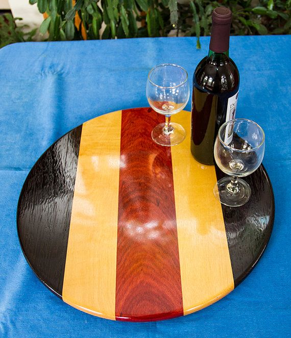 exotic wood lazy susan made from wenge yellow heart and bloodwood see www