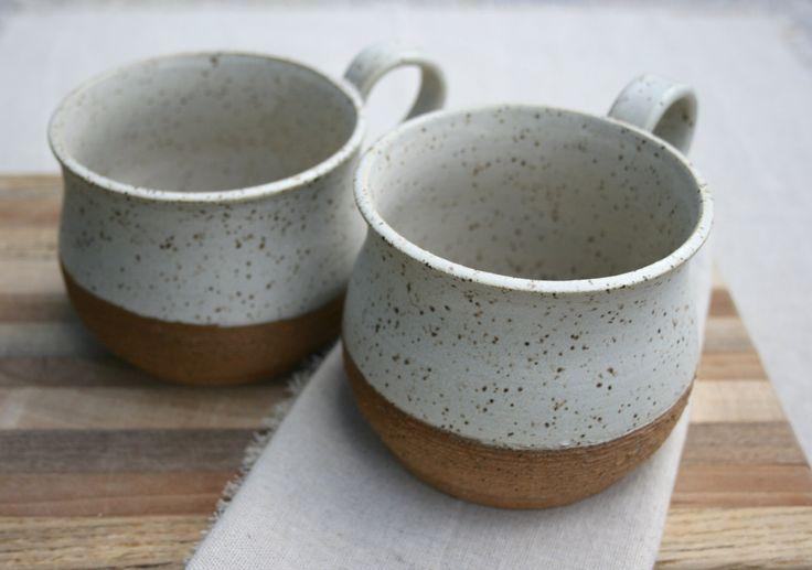 pair soup bowls, soup mugs, large latte cups, speckled stoneware ©earthforms by Marie Wingate