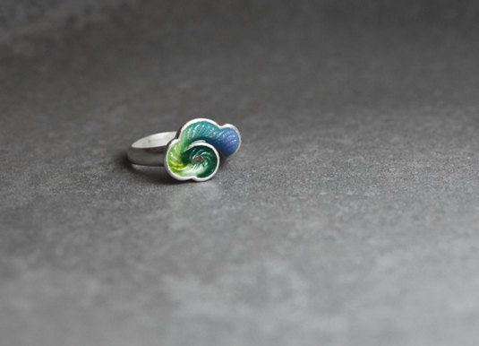 £80 Each piece is hand-made and hand-painted by Ning The duration of making process: approximately 2 days  Material Front: Enamel  Back: 999 Silver  Size Cloud Part: Approximately 13*10mm Ring Inner Part: 16mm