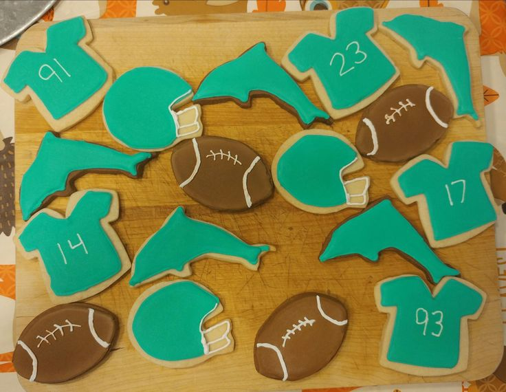 Miami Dolphins cookies that I made for my husband.