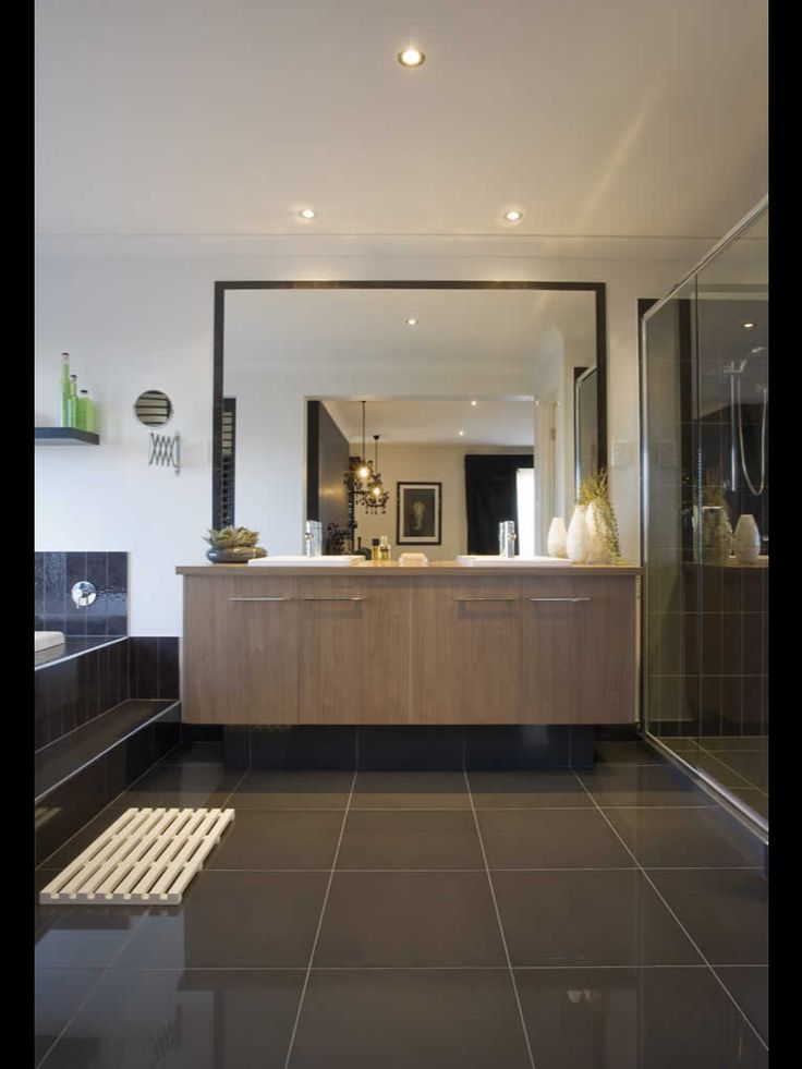 Metricon bathroom  This is almost the exact design we are having But probably with a charcoal grey vanity